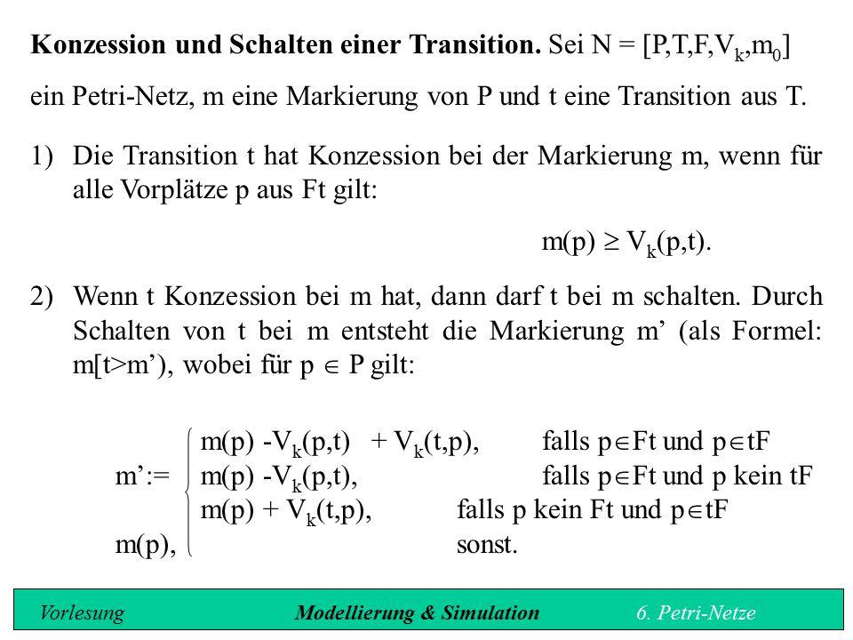 Konzession und Schalten einer Transition. Sei N = [P,T,F,Vk,m0]